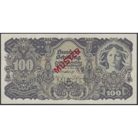 100 Schilling Muster-Banknote