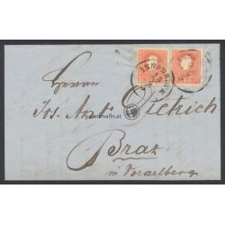 1860, Faltbrief Innsbruck(T) - Braz(V)