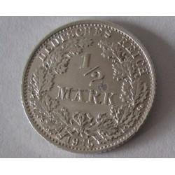 1/2 Mark (Ag) , 1915 D