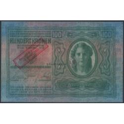 100 Kronen mit schrägem Aufdruck