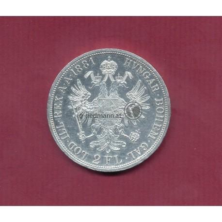 2 Gulden 1881 Kaiser Franz Joseph I.