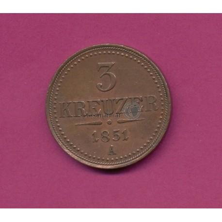3 Kreuzer 1851 Franz Joseph I.